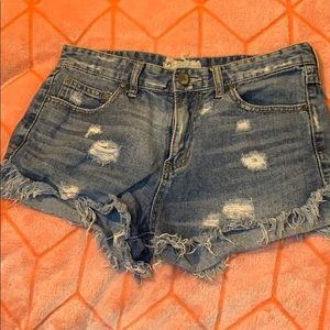 Free People Distressed High Waisted Jean Shorts